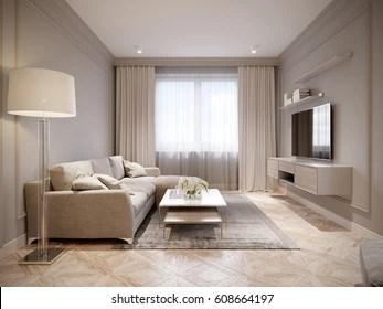 modern beige gray living room interior
