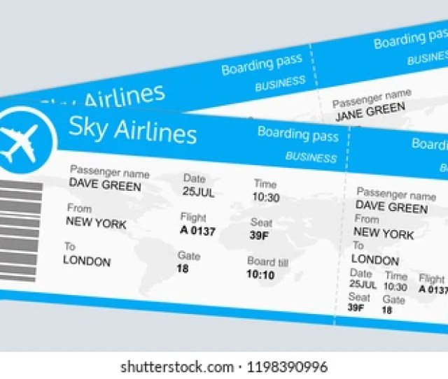Plane Ticket Template Airplane Flight Ticket Blank Boarding Pass Travel By Plane Concept