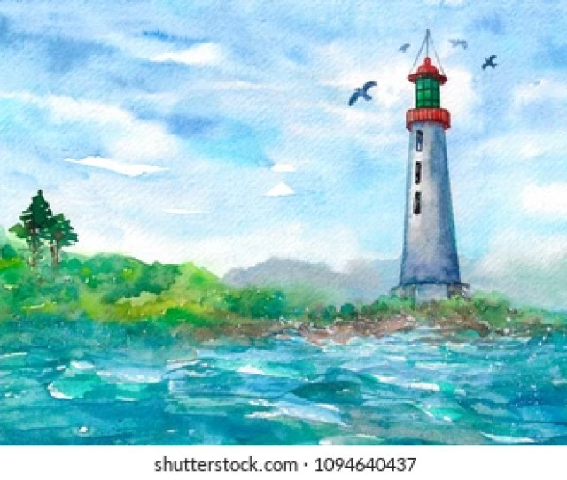 Seascape With A Lighthouse And Seagull Watercolor Illustration Hand Drawn