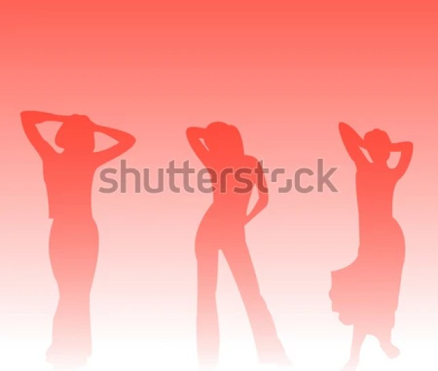 Silhouettes Of Sexy Girls Dancing With A Gradient Background