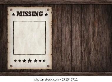 https www shutterstock com image illustration torn wild west missing poster on 291545711