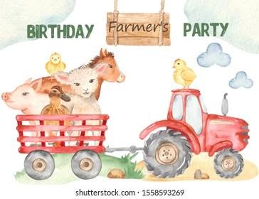 https www shutterstock com image illustration watercolor card cute farm lamb chickens 1558593269