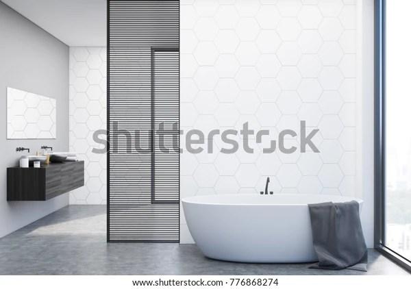 https www shutterstock com image illustration white hexagon tile bathroom interior double 776868274
