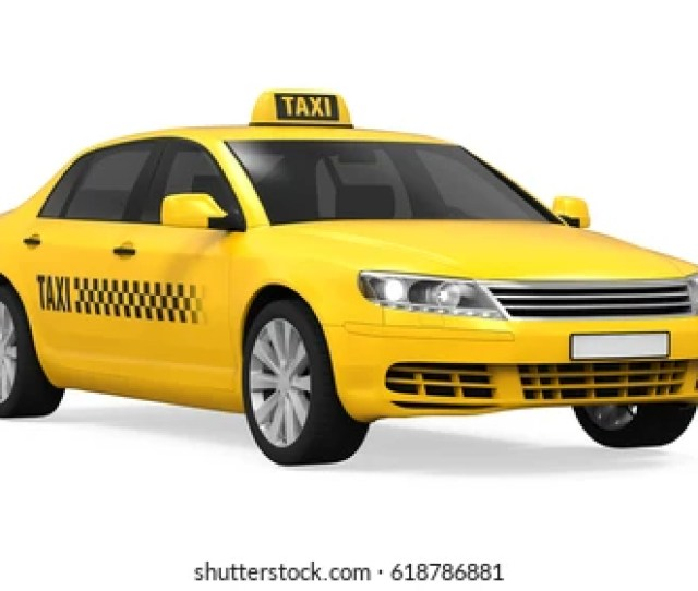 Yellow Taxi Isolated 3d Rendering
