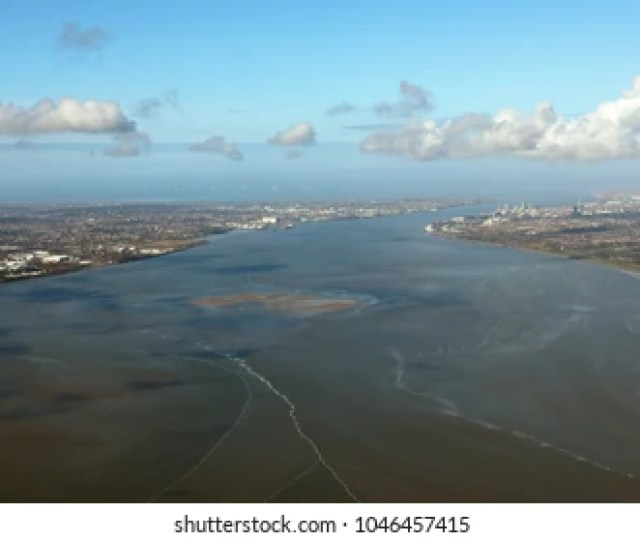 Aerial View Of The Mersey Estuary Liverpool England