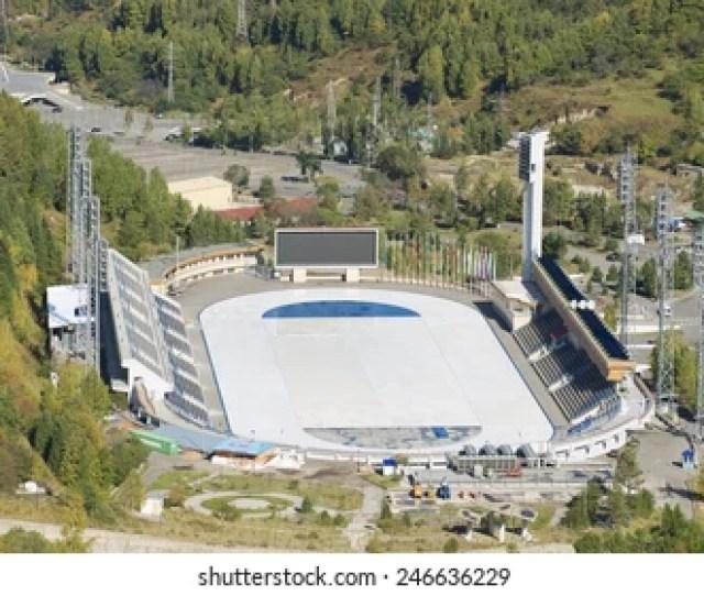 Almaty Kazakhstan September 17 2011 Aerial View Of The Medeo Stadium On