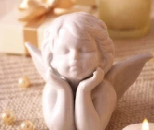 Angel Christmas Ornament Little Ceramic Angel On Christmas Background