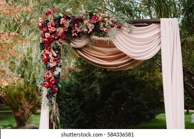 Wedding Arch Images  Stock Photos   Vectors  10  Off    Shutterstock Autumnal wedding arch decoration of roses  apples  grape and pomergranate