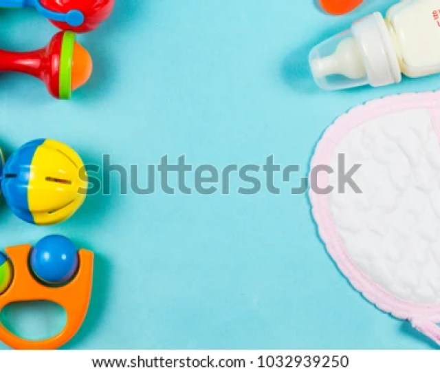 Wooden Toys Nipples And Bottle Powders Are Separated From The Background
