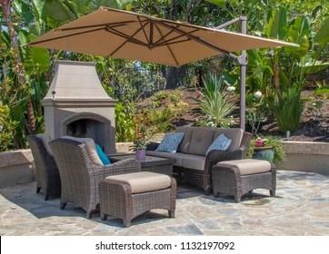https www shutterstock com image photo backyard patio fireplace southern california 1132197092