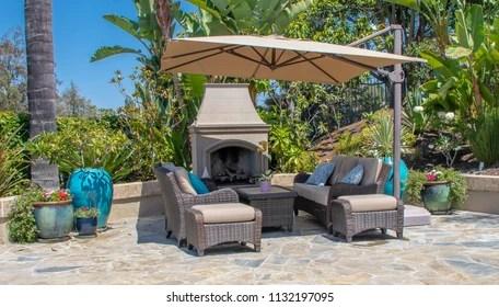 https www shutterstock com image photo backyard patio fireplace southern california 1132197095