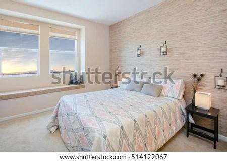 Beautiful Bedroom Natural Fibers Wallpaper Stock Photo Edit