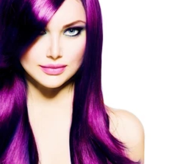 Beautiful Girl With Healthy Long Purple Hair And Blue Eyes Beauty Model Woman With Professional