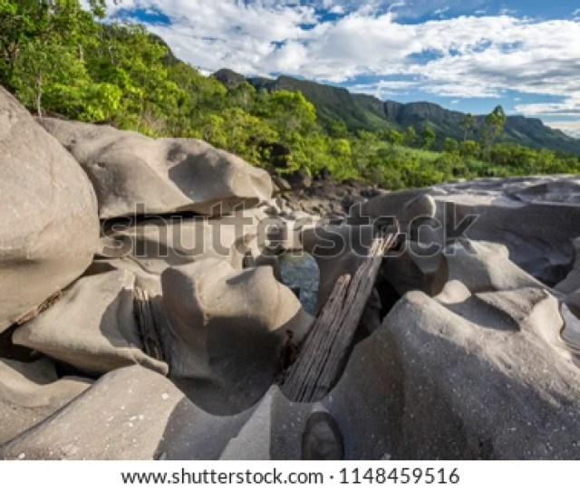 Beautiful Rocky Landscape With Carved River In Vale Da Lua Moon Valley Chapada