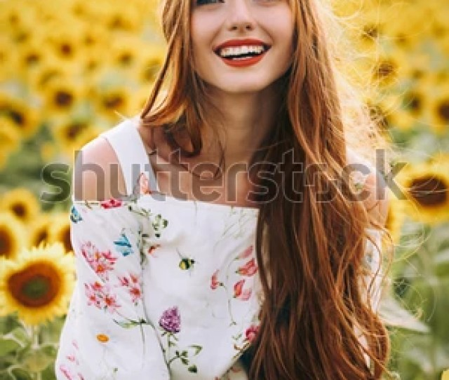 Beautiful Sweet Sexy Girl In A White Dress Walking On A Field Of Sunflowers Smiling