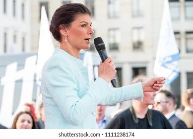 Berlin Germany, 18th April 2018: Sahra Wagenknecht speaking at a peace rally in Berlin at the Brandenburg gate.