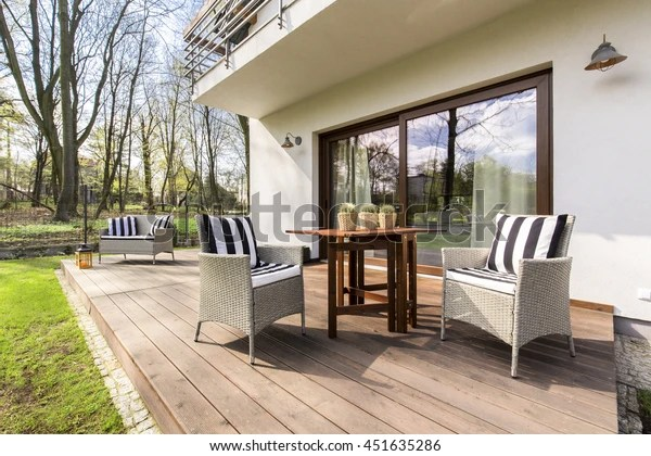 https www shutterstock com image photo big wooden cozy porch chairs coffee 451635286