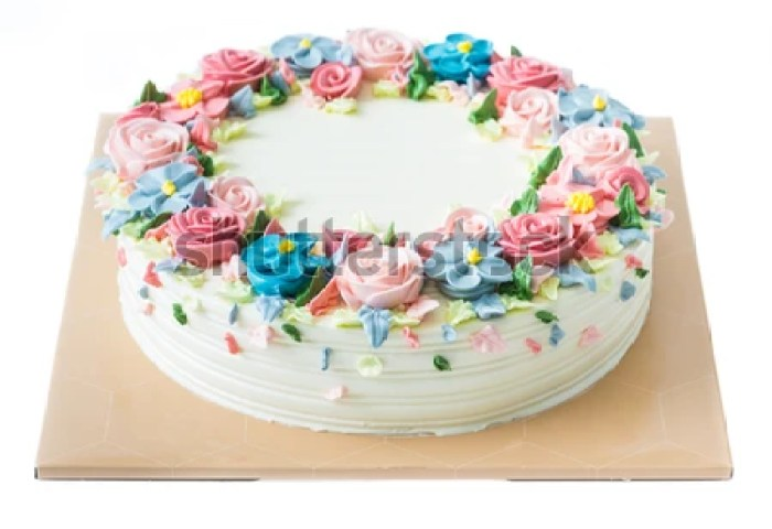 Birthday Cake Flowers On White Stock Photo Edit Now 124439026