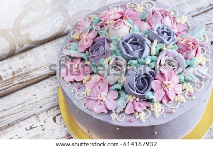 Birthday Cake Flowers Rose On White Stock Photo Edit Now 614187932