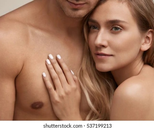 Body Care Beautiful Couple With Naked Bodies Smooth Soft Pure Skin Embracing Closeup