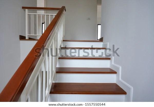 https www shutterstock com fr image photo brown wooden stair white steel balustrade 1557550544