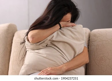 https www shutterstock com image photo brunette woman burying her head pillow 1904237251