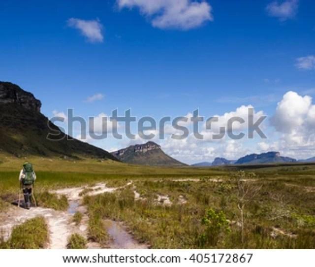 Chapada Diamantina Bahia Brazil Alone Man With Backpack Trekking On Pati Valley