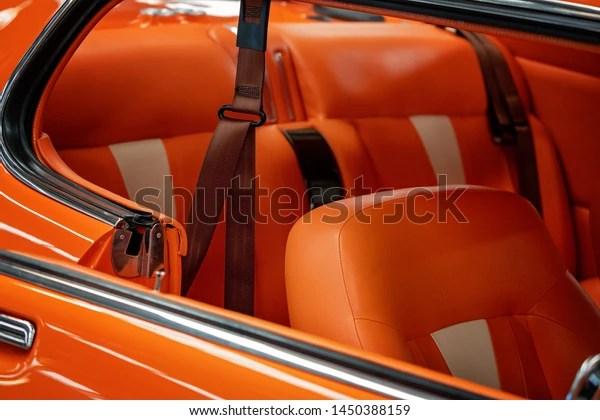 Close Matching Orange Leather Upholstery Custom Stock Photo Edit Now 1450388159
