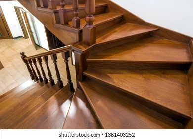 Wooden Stair Railing Images Stock Photos Vectors Shutterstock   Hardwood Handrails For Stairs   Brown   Tree Shaped Stair   Balustrade   Indoor   Handrail