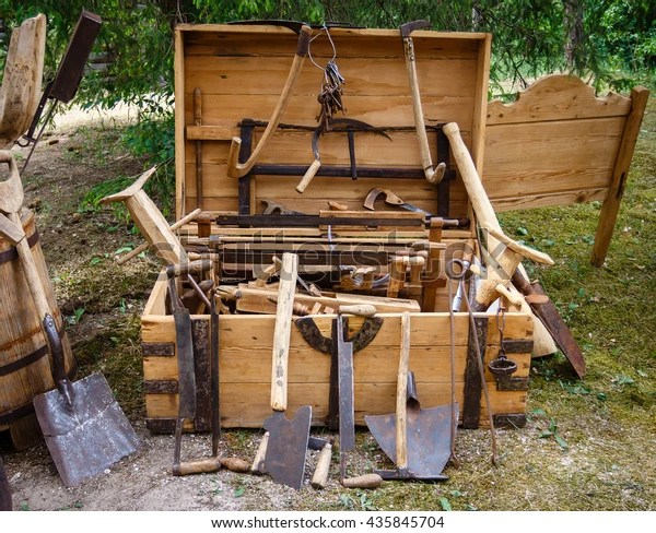 https www shutterstock com image photo collection antique woodworking tools rustic old 435845704