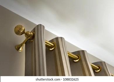 https www shutterstock com image photo curtains gilt metal rod 108832625