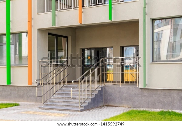 Entrance Building Staircase Metal Railing Entrance Stock Photo   Main Entrance Stairs Design   Exterior   Backyard Patio   Patio   Front Yard   Traditional