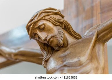 Head Crowned Thorns Crucifixion Jesus Christ Stock Photo  Royalty     the face of Jesus crucified on the cross in a wooden statue