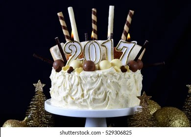 New Year Cake Images  Stock Photos   Vectors   Shutterstock Festive holidays 2017 Happy New Year showstopper centerpiece white  chocolate cake with candy and cookies decorations