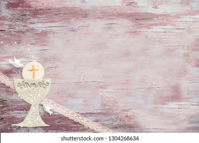 https www shutterstock com image photo first holy communion invitations silver chalice 1304268634