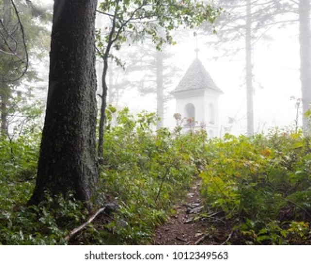 Footpath Through Fogy Forest Thicket Toward Small Chapel Church Dome Building Ursula Mountain Traveling