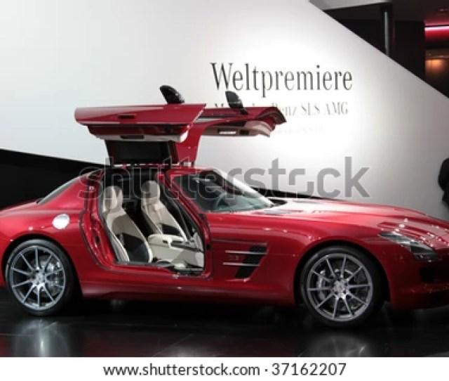 Frankfurt Sep 15 Mercedes Benz Sls Amg With Open Swing Wing Doors Shown