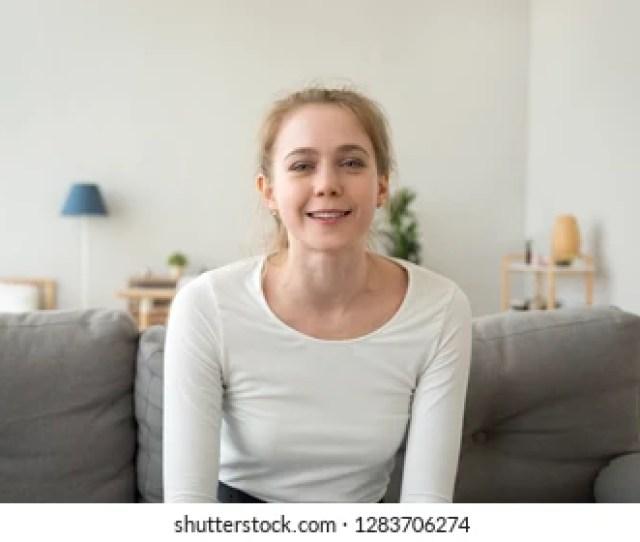 Friendly Teen Girl Youtuber Blogger Vlogger Looking At Camera Talking Recording Vlog At Home Young