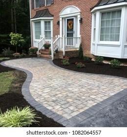 https www shutterstock com image photo front walk landscaping 1082064557