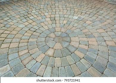 https www shutterstock com image photo garden backyard circular pattern brick stone 793721941