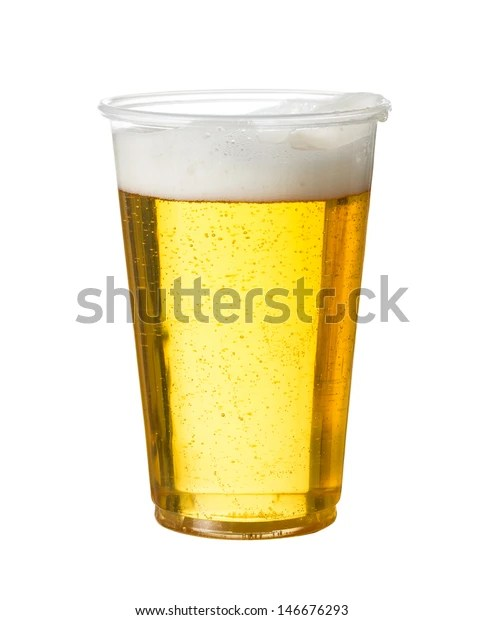 Stock photo of a simple glass of golden beer in a plastic party cup and isolated against a white background