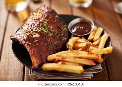 half rack barbecue pork ribs french