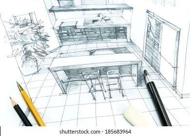 Interior Design Sketch Images  Stock Photos   Vectors  10  Off     Hand drawing interior design  Part of architectural project
