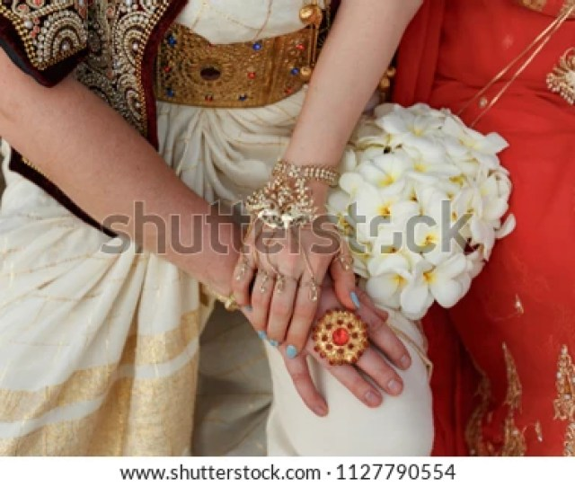 Hands Of Bride And Groom In A Traditional Wedding Jewelry Sri Lanka
