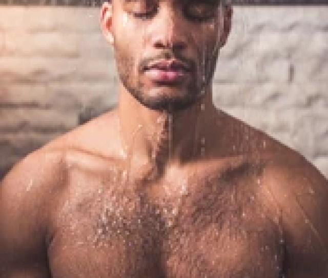 Handsome Naked Afro American Man Is Taking Shower In Bathroom