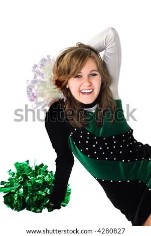 Happy Girl In A Pom Pon Uniform