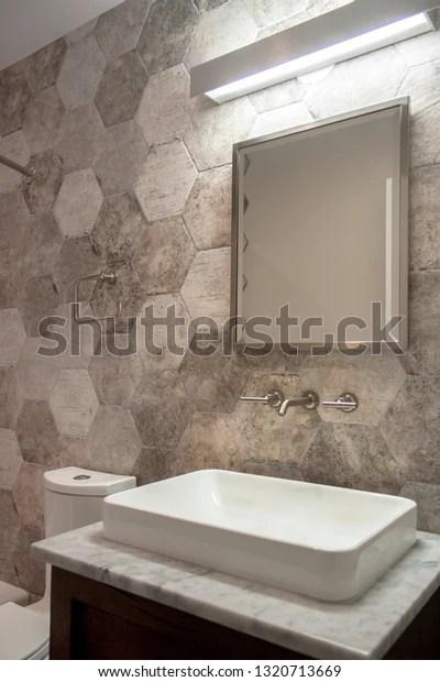 https www shutterstock com image photo hexagon wall tile bathroom modern vanity 1320713669