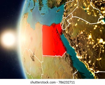 Egypt Map 3d Stock Illustrations  Images   Vectors   Shutterstock Illustration of Egypt as seen from Earth      s orbit during sunset with  visible country