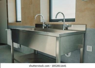https www shutterstock com image photo industrial stainless steel sink bathroom workshop 1852811641