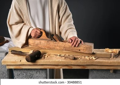 Jesus Working Wood Plane Carpenters Workshop Stock Photo (Edit Now) 30488851